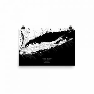 Long Island, New York Surf Spot Map - Black & White